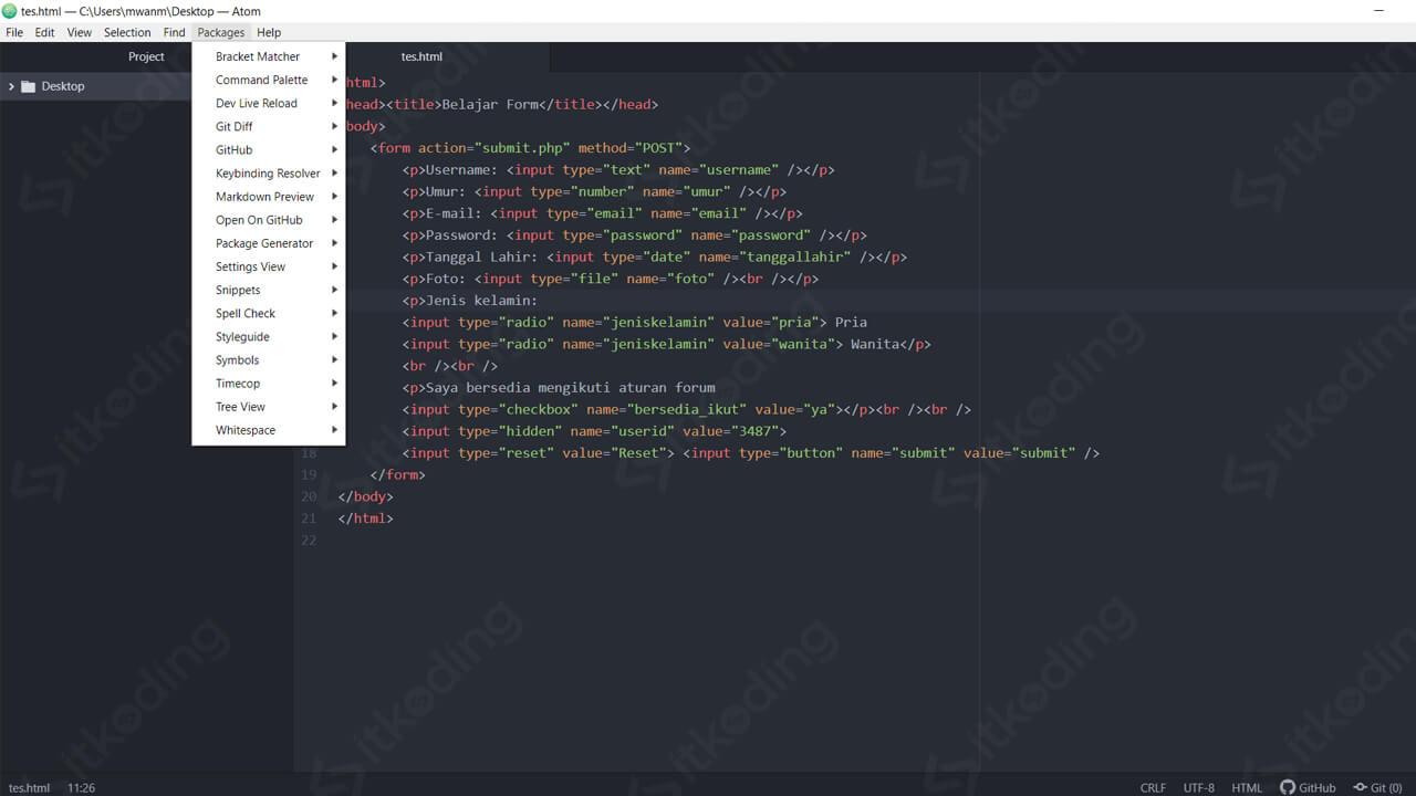 Atom sebagai HTML editor terbaik