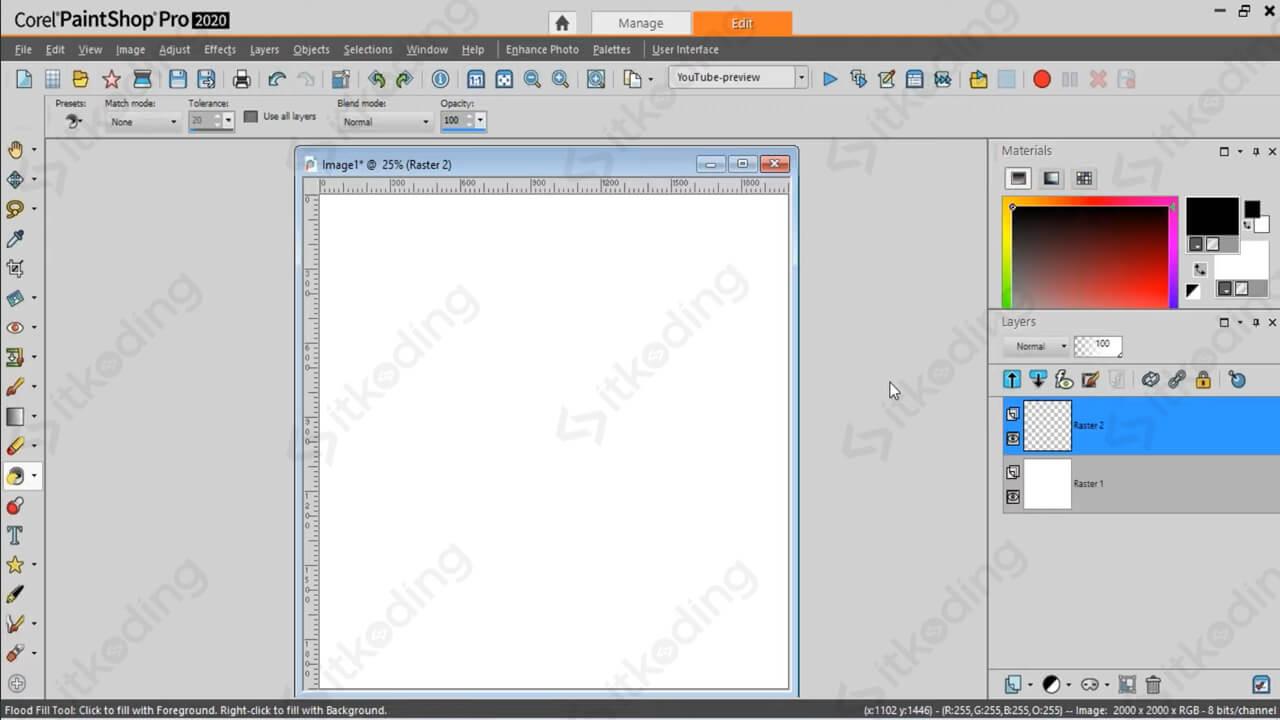 Canvas kosong pada Corel PaintShop Pro