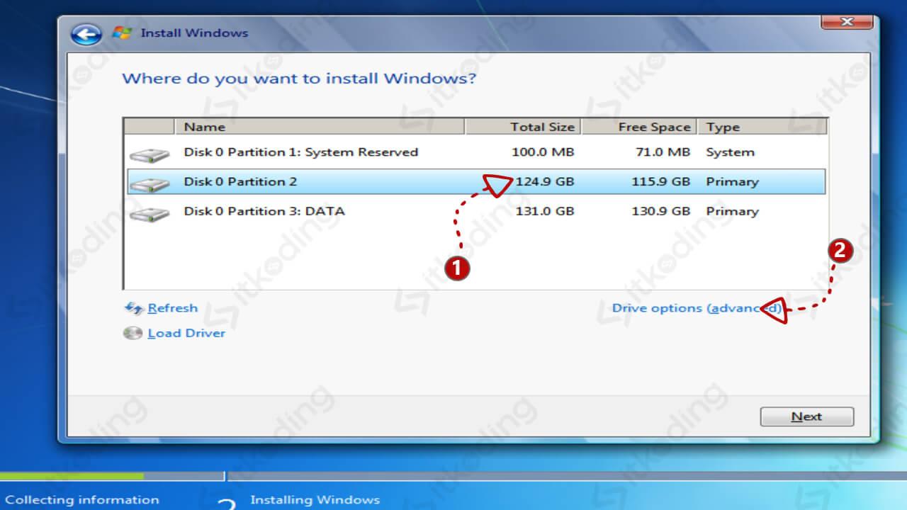 Format partisi untuk install ulang Windows 7
