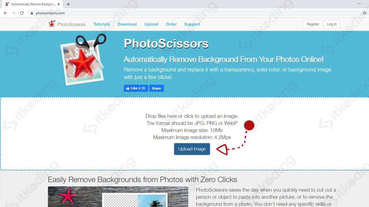 Halaman upload foto di photoscissors