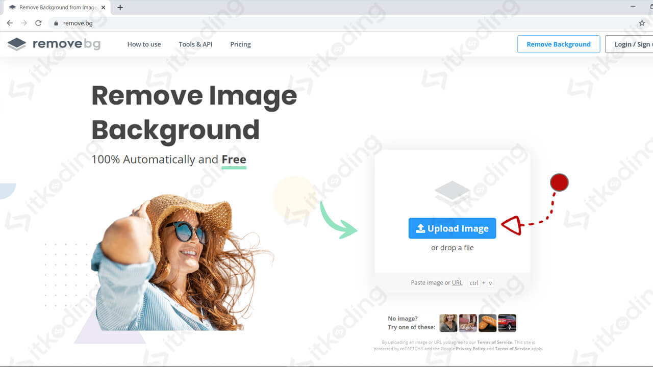 Halaman upload image pada removebg