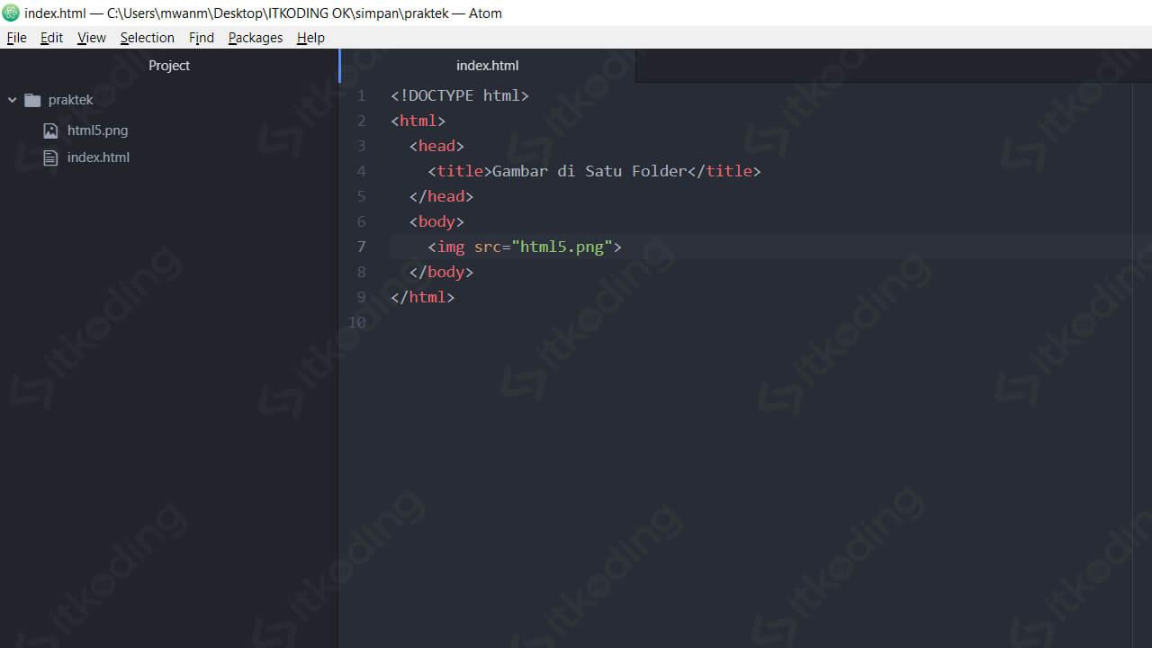 Kode HTML untuk menambahkan gambar di HTML