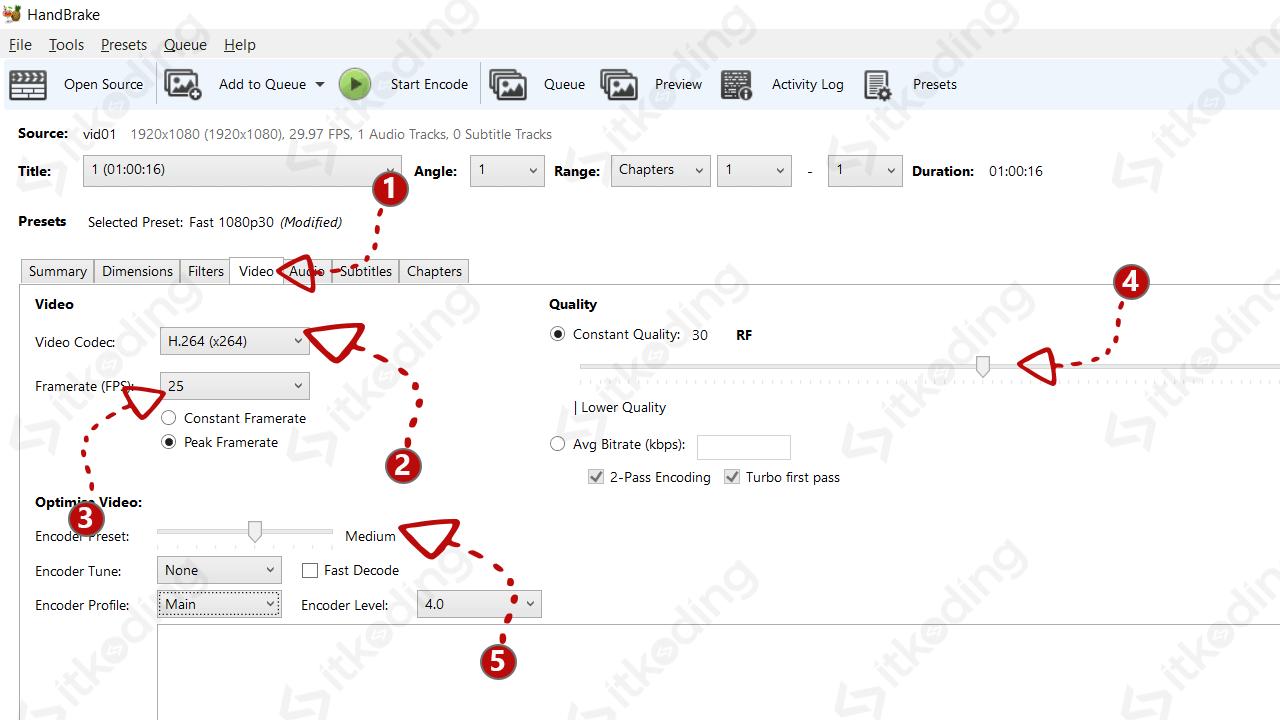 Konfigurasi kualitas hasil kompres ukuran video