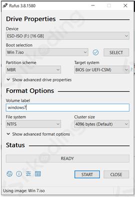 Konfigurasi rufus untuk membuat bootable Windows 7