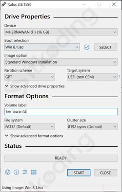 Konfigurasi rufus untuk membuat bootable Windows 8