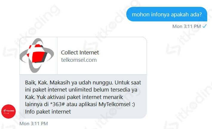 Konfirmasi paket internet Telkomsel unlimited