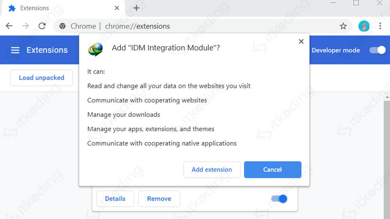Konfirmasi pemasangan modul IDM di chrome