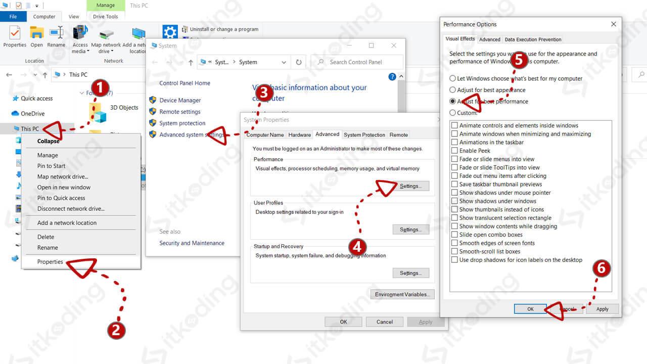 Langkah-langkah menggunakan pilihan performa terbaik di windows