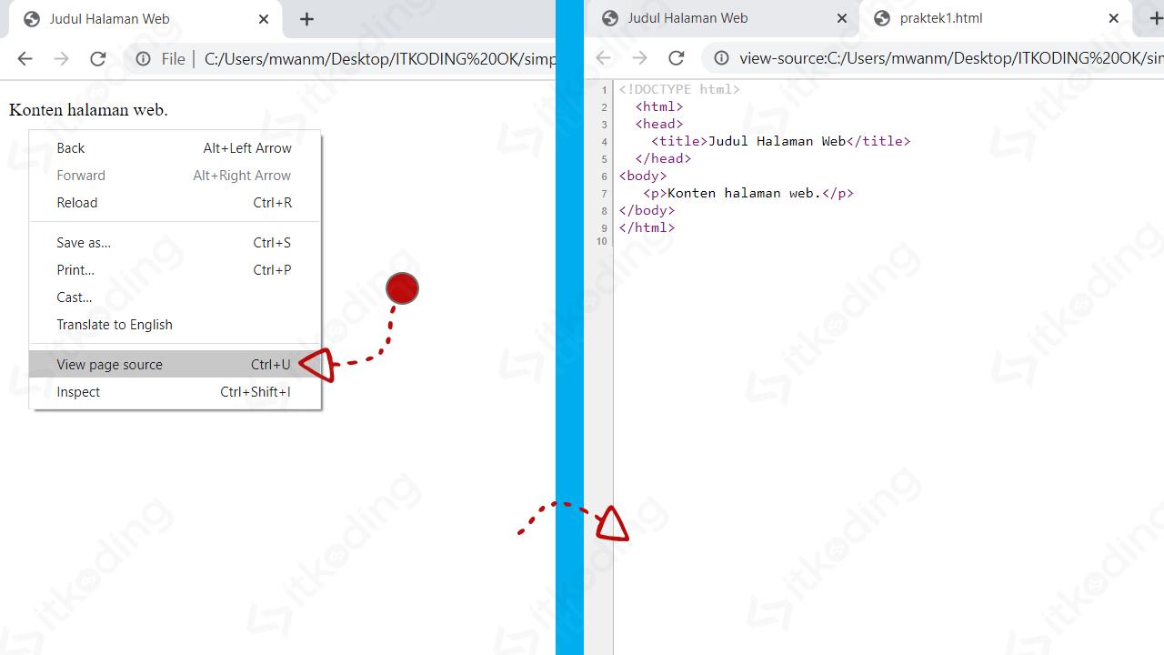 Melihat page source HTML pada google chrome