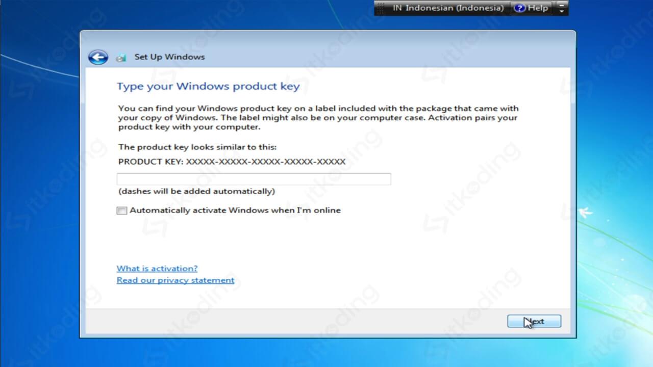 Memasukkan product key Windows 7