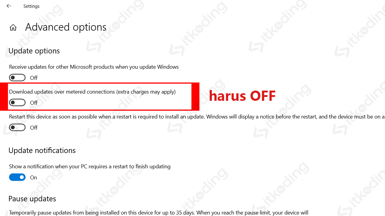 Mematikan update otomatis windows 10 pada metered connections
