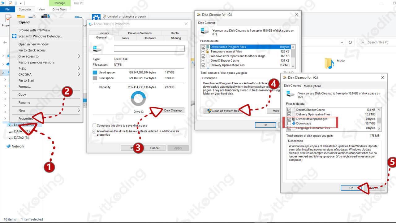 Membersihkan file sistem dengan disk cleanup