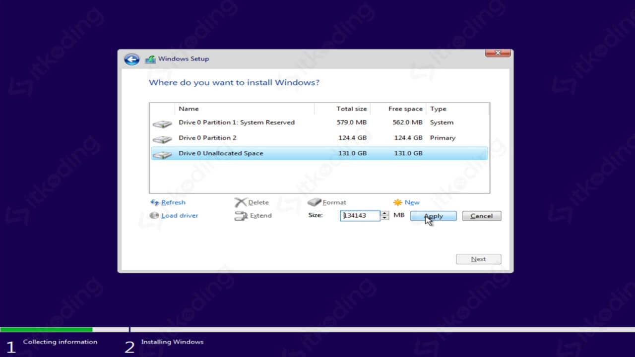 Membuat beberapa partisi Windows 10