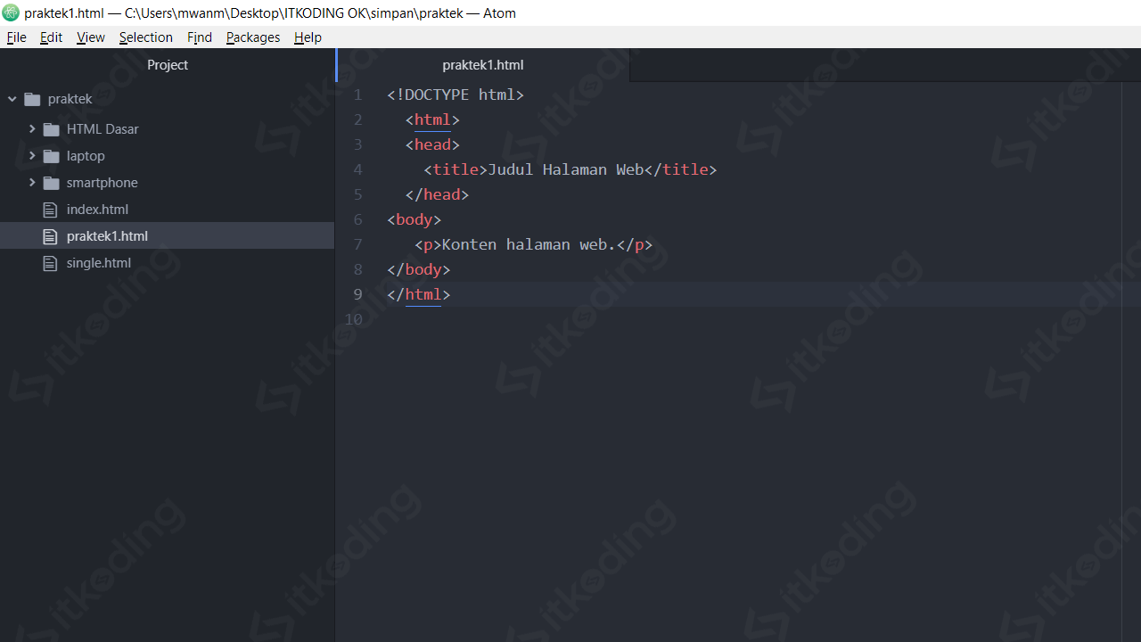 Membuat file struktur dasar HTML di atom editor