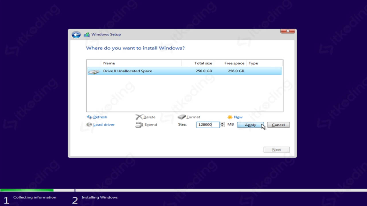 Membuat partisi hardisk saat install Windows 10