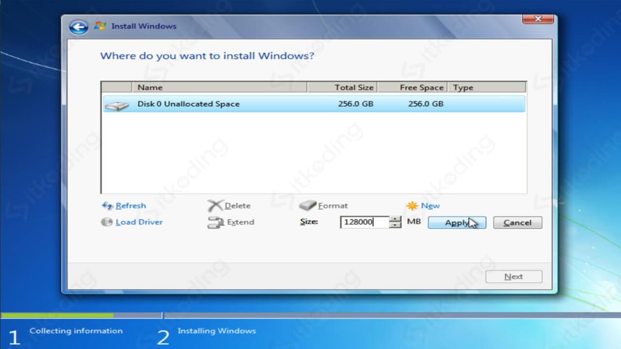 Membuat partisi baru untuk Windows 7