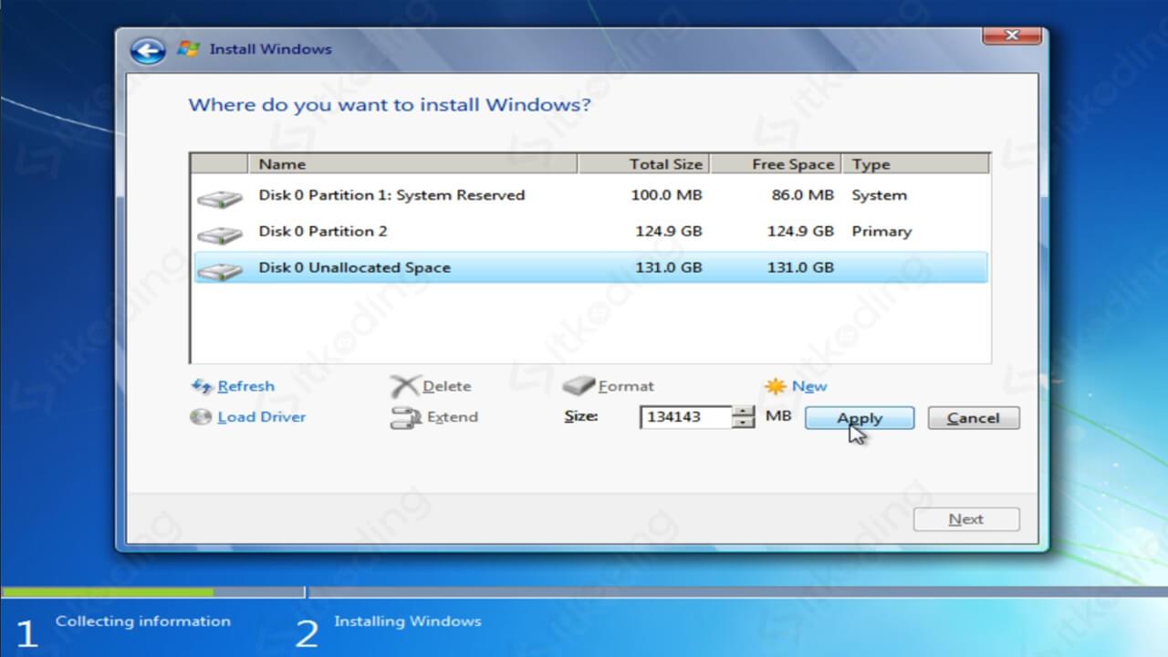Membuat partisi lebih dari satu di Windows 7