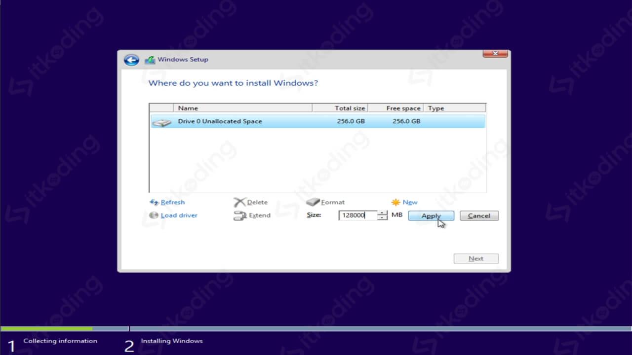 Membuat partisi windows 8