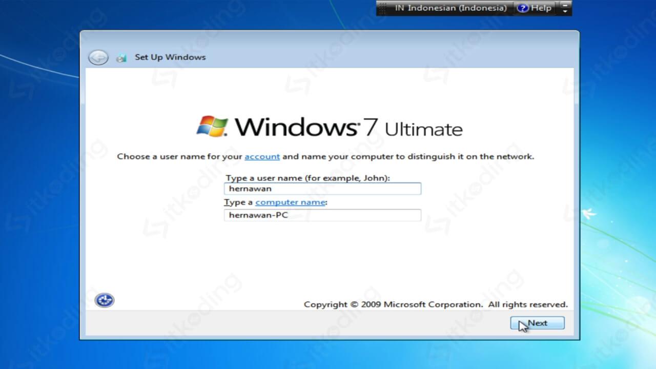 Membuat user baru untuk Windows 7