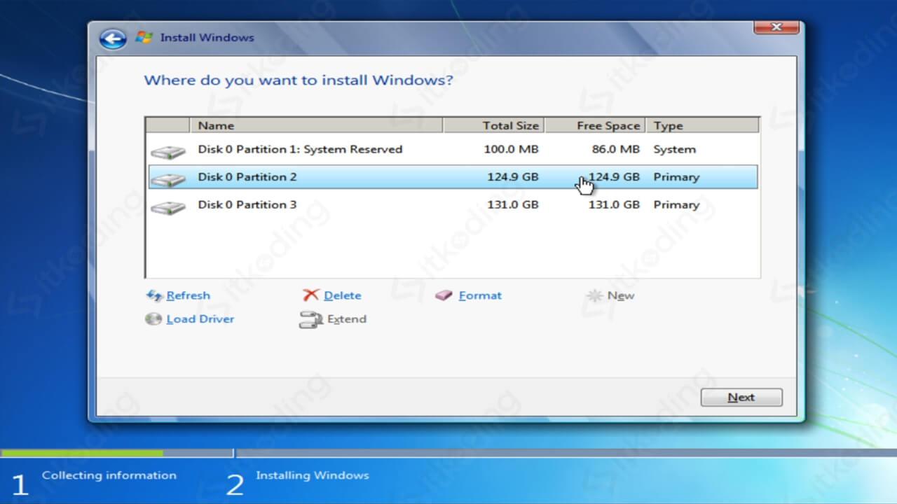 Memilih partisi untuk install Windows 7