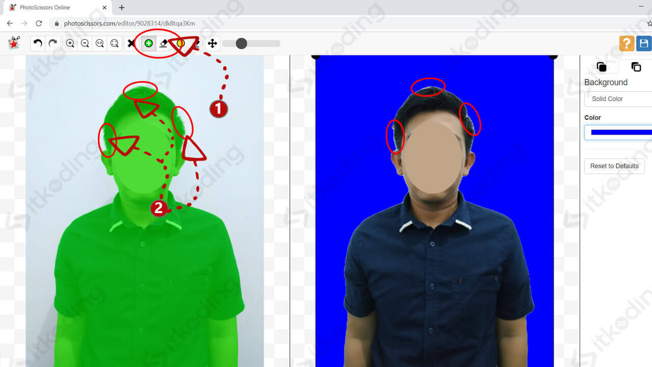 Memperbaiki background pada photoscissors