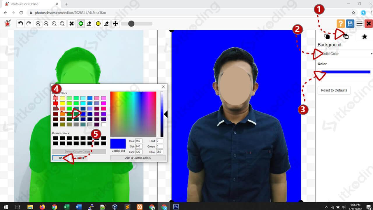 Mengganti background foto menjadi biru