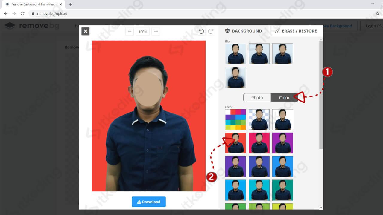 Mengganti background foto menjadi merah di removebg