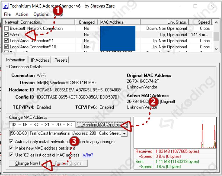 Mengganti mac address laptop dengan technitium