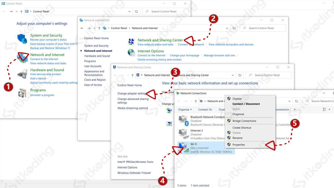 Mengubah ip address di control panel