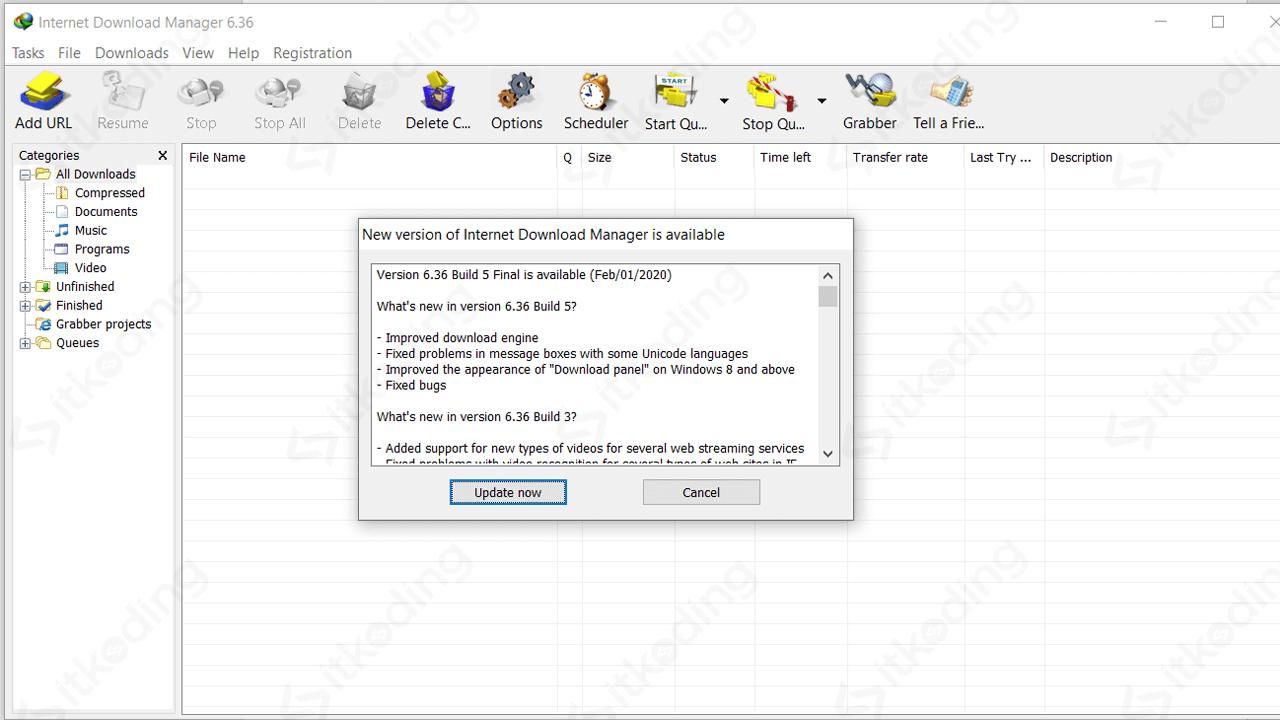 Mengupdate IDM ke versi terbaru