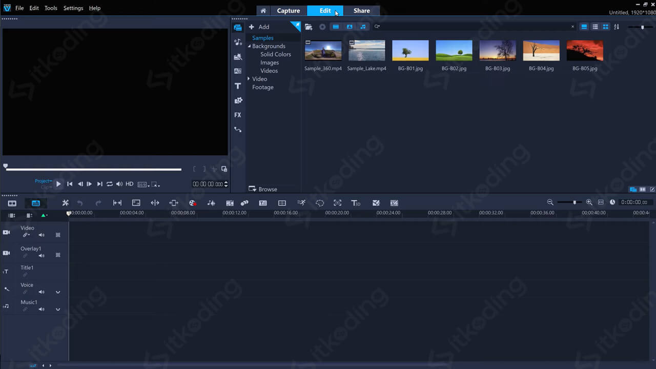 Menu edit pada Corel VideoStudio