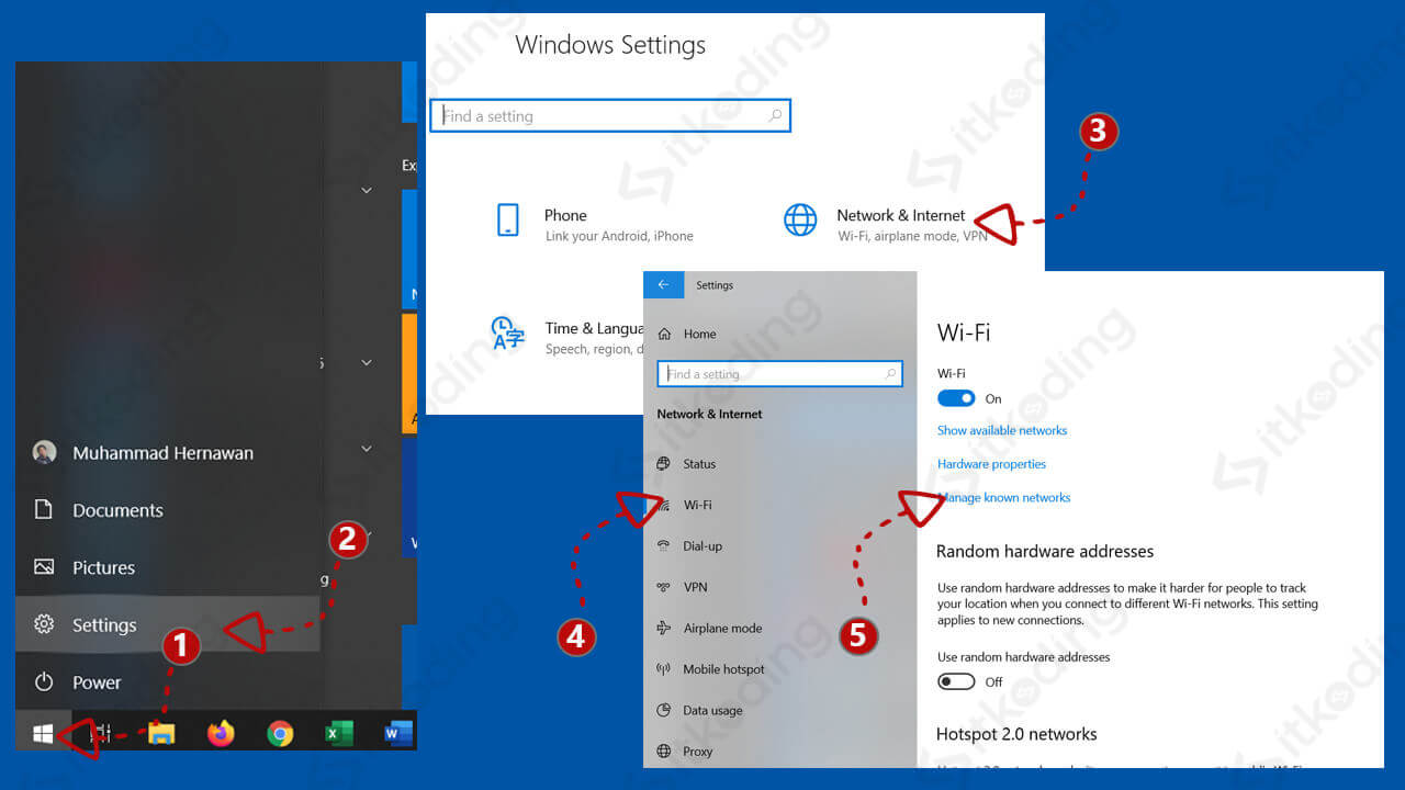 Menu manage known networks pada windows 10