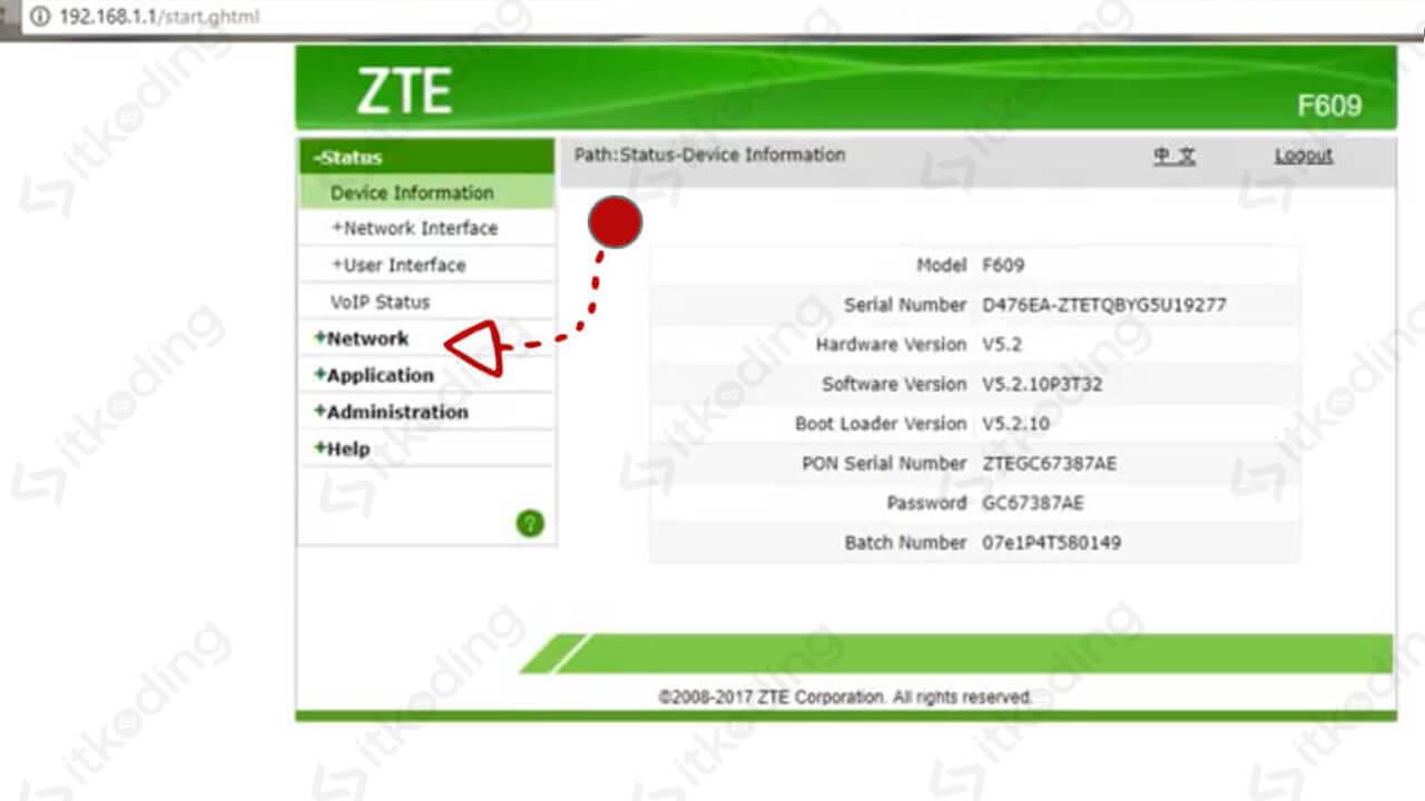 Menu network pada administrator zte f609