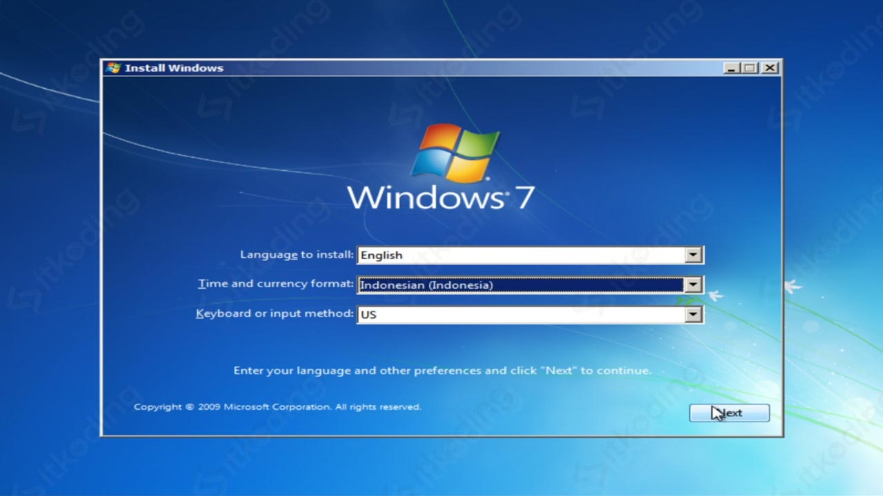 Pengaturan format waktu saat install Windows 7