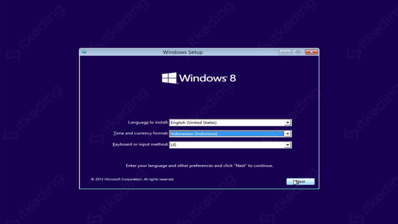 Pengaturan format waktu Windows 8