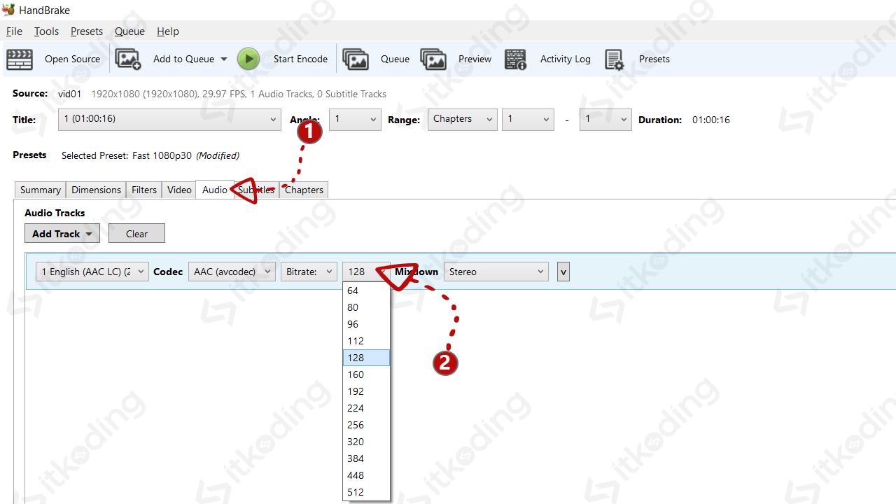 Pengaturan kualitas audio di handbrake