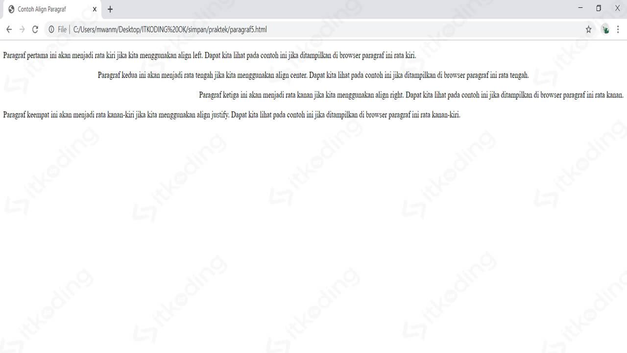 Penggunaan atribut align untuk paragraf HTML