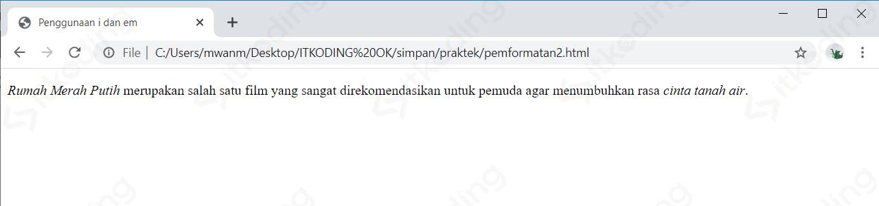 Penggunaan tag i dan em di HTML