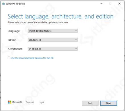 Pilihan bahasa dan versi Windows 10