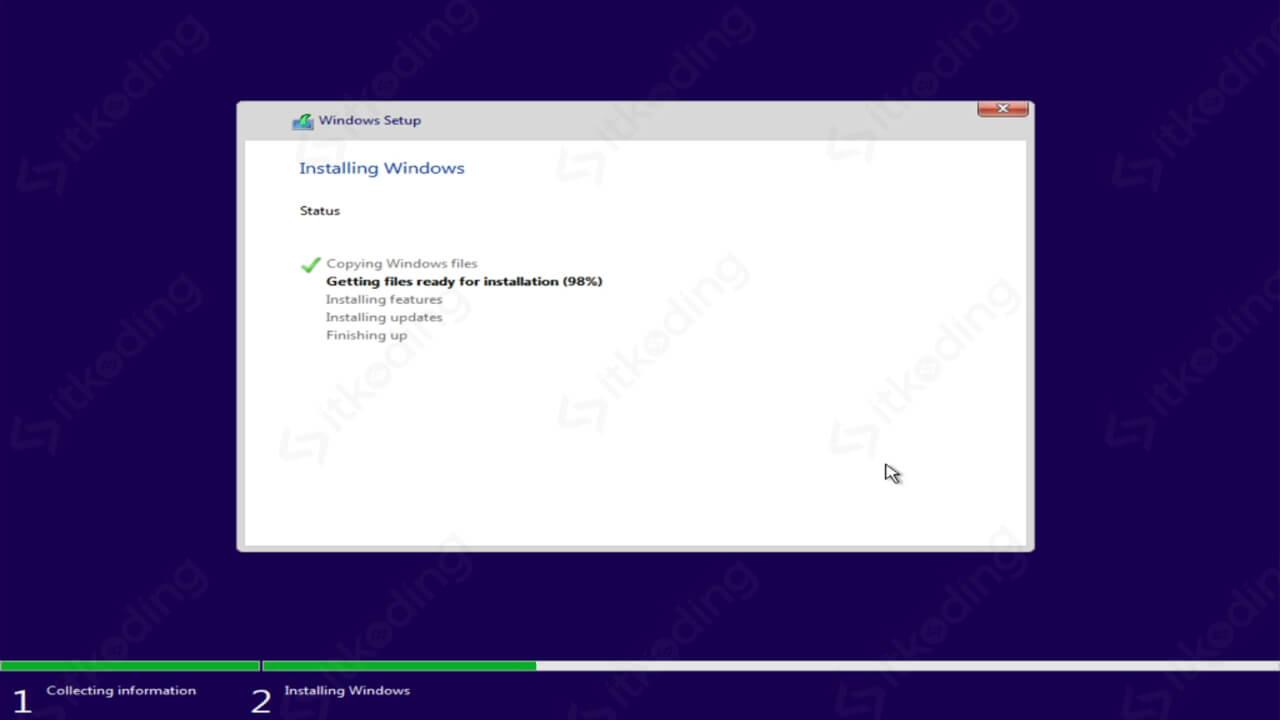Proses menyalin data Windows 10