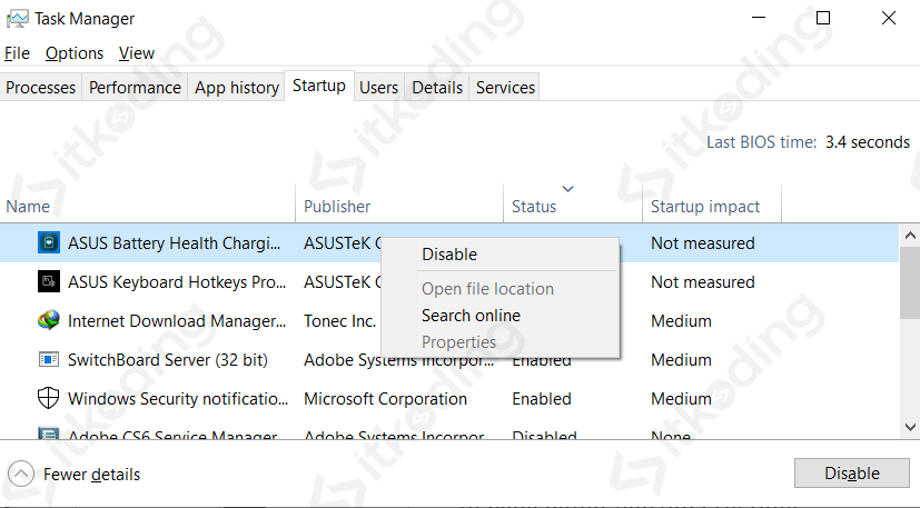 Startup aplikasi di task manager