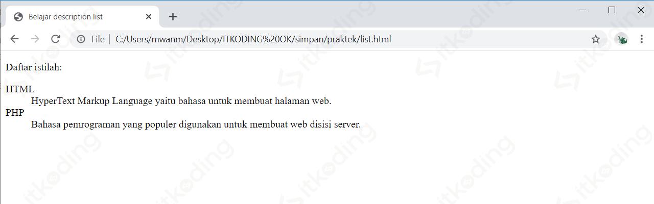 Tampilan description list HTML