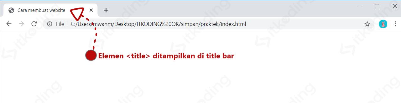 Tampilan elemen head title HTML pada browser