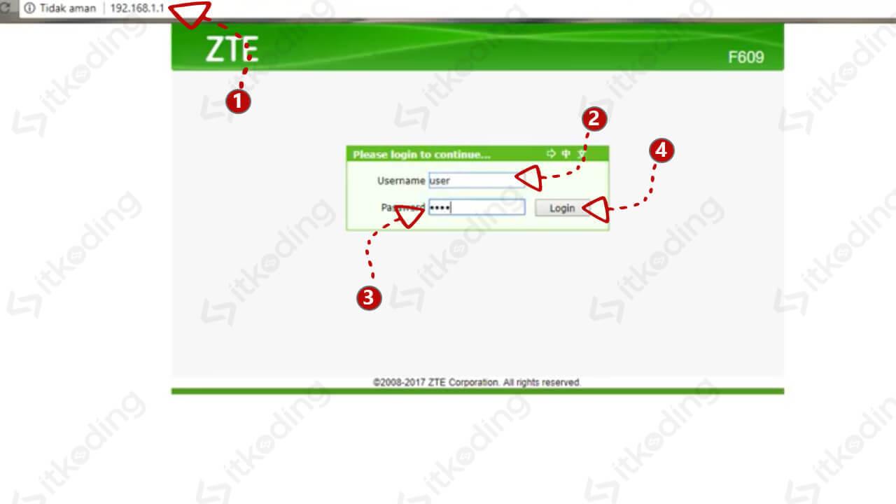 Tampilan login web admin zte f609