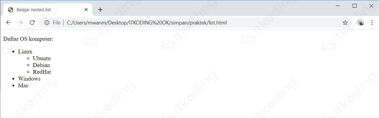 Tampilan nested list HTML pada browser