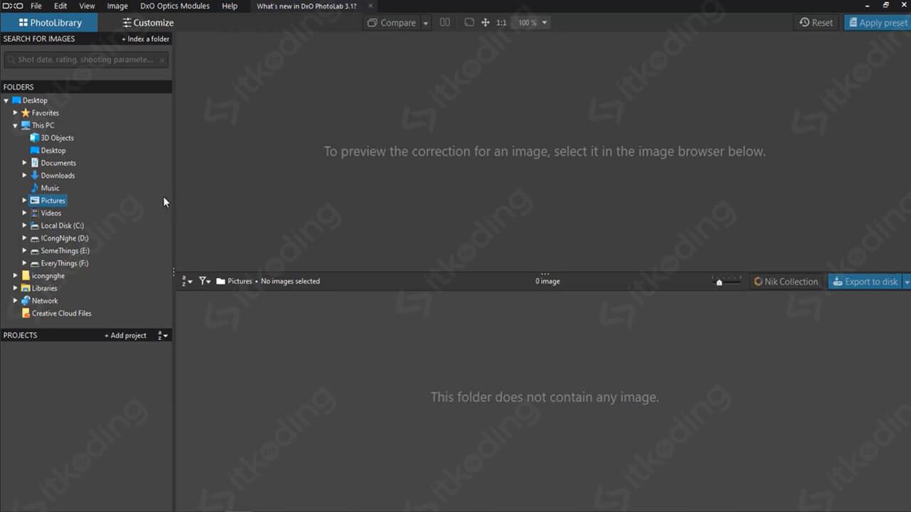 Tampilan pembuka DxO PhotoLab 3
