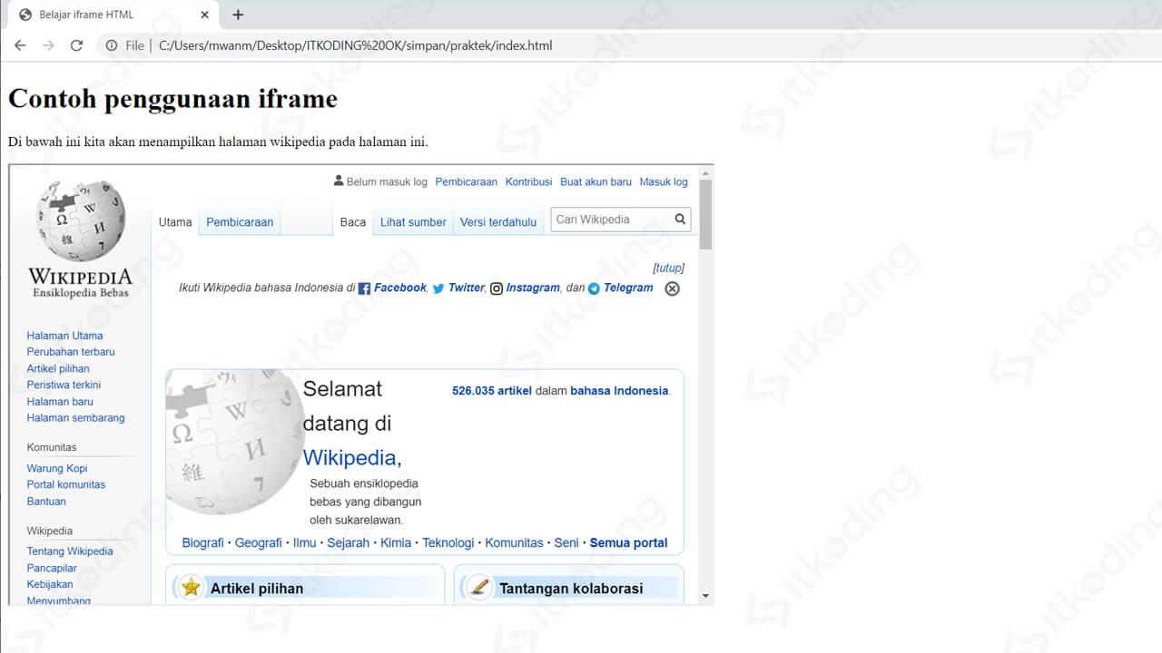 Tampilan percobaan iframe HTML pada browser
