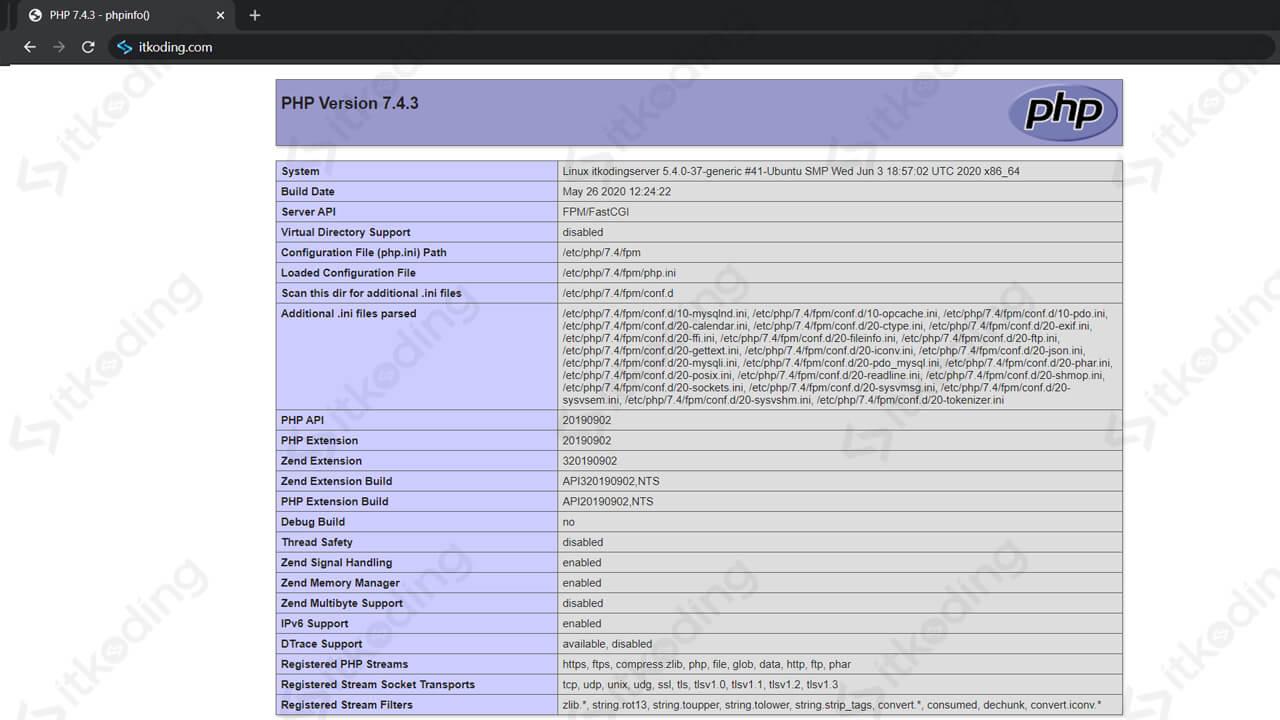 Informasi php menggunakan domain di browser