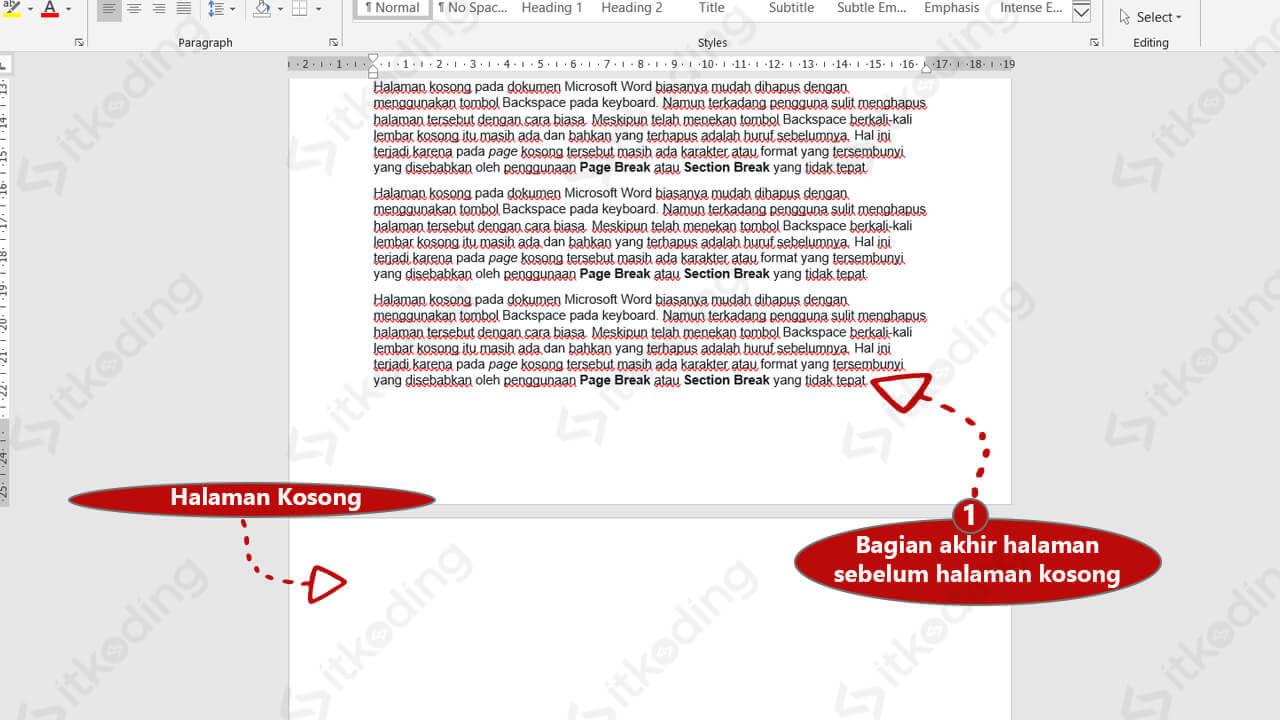Bagian akhir halaman word