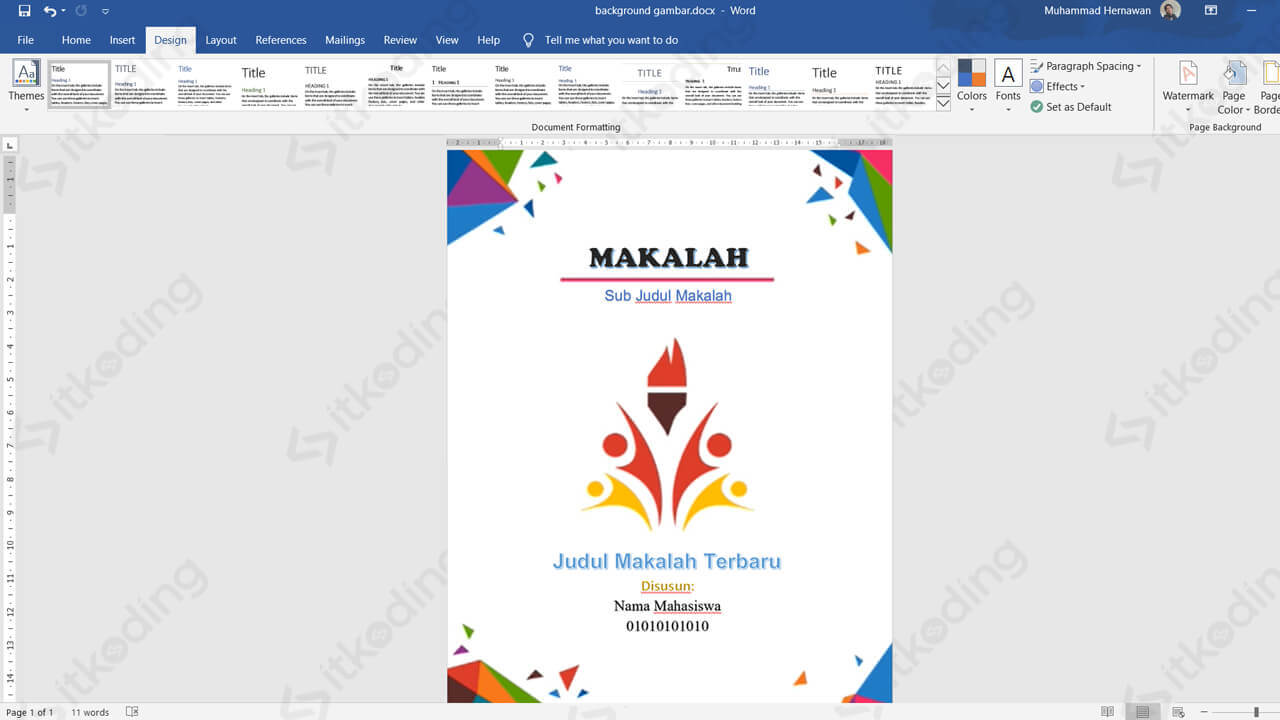 Hasil background gamber pada ms word